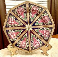 Beautiful Octagon Black and Gold Multi Color Decorative Plate with fruit Design