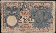 More details for 1904 | italy vittorio emanuele iii 5 lira banknote | banknotes | km coins