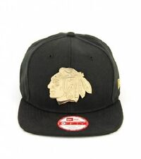 CHICAGO BLACKHAWKS New Era Original Fit GOLD METAL Logo Snapback Hat Cap - BNWT
