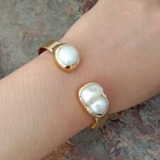 15x21MM White Keshi Pearl 24 K Gold Plated Bangle Bracelet