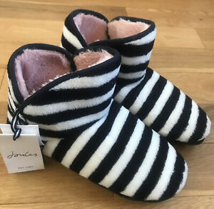 Joules Cabin Striped Slippers - Womens - Navy / White Stripe - Size Large UK 7/8