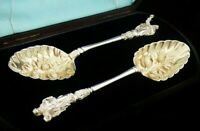Super Quality Cased Antique Silver Plated APOSTLE Berry Serving Spoons c.1880