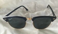 Ray Ban Clubmaster Sunglasses RB3016 Black / Gold Frame Made in Italy