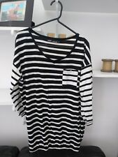 Ladies BNWOT Very Trendy Next Black & White Striped Bubble Hem Top Size 8