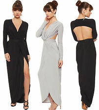 Polyester Patternless Long Sleeve Maxi Dresses for Women