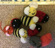 3 hand knitted Small Mice ,3 Ladybirds And 3 Bees