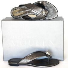 4107d5d5f5b2 Alexander McQueen New sz 38 8 Womens Designer Skull Flats Shoes Slides  Sandals