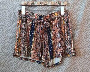 NWT Bobbie Brooks Super Soft XL Shorts Stretch Boho Floral Stripe Gypsy Elastic