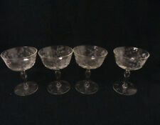 """Set of 4 optic glass Vintage Clear engraved Crystal Wine Glasses 4.5"""" flowers"""
