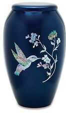 Blue Hummingbird 210 Cubic Inches Large/Adult Funeral Cremation Urn for Ashes