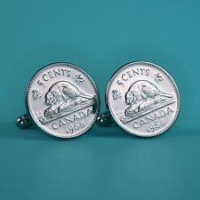 1968 Canadian Beaver Nickel Coin Cufflinks, Vintage 5 Cents Canada