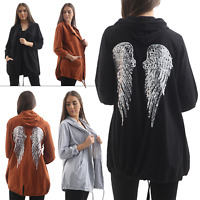 Ladies Italian Angel Wings Back Tunic Hooded Womens Jacket Top Sizes 8-14 New