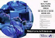 Publicité Advertising 1988 (2 pages) France Telecom,téléphone le fil de la vie