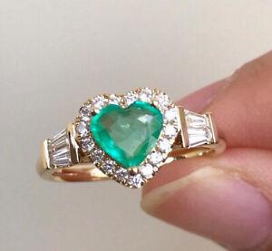 Heart Fashion Women's Wedding Ring 18K Yellow Gold Emerald White Topaz Size 10