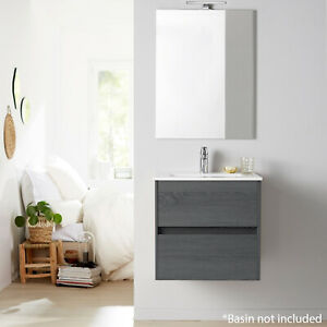 Limoge® Alba 60cm 2 Drawer Basin Unit in Grey Oak