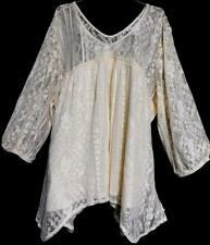 Maurices cream floral lace lined v cut plus size fairy top 3 , 3X