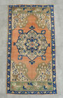 """Vintage Distressed Small Area Rug Hand Knotted Oushak Rugs Yastik -1'8"""" x 3'3"""""""