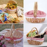 Oval Antique Style Willow Wicker Picnic Outdoor Shopping Storage Basket W/Handle