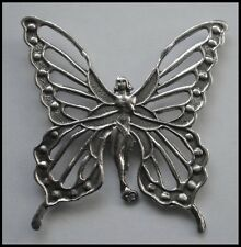 PEWTER CHARM #402 Butterfly Fairy 2 bail joiner (56mm x 54mm)