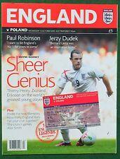 Football Programme plus Ticket>ENGLAND v POLAND Oct 2005 WCQR @Old Trafford