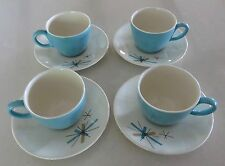4 Mid Century Modern Salem North Star Turquoise Atomic Star Cups & Saucers