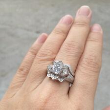 Engagement Ring Set For Women Size 10 Newshe Flower Cz White Gold Plated Wedding