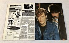 Hall & Oates 1983 Clipping Poster Swedish Music magazine Vintage 1980s