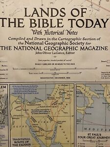 National Geographic December 1956 Map Lands of The Bible Today Vintage