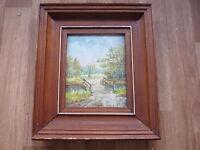 """Original Village River Bridge Oil Painting on Canvas - Framed - Signed """"IM"""""""