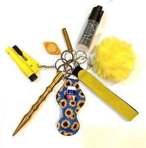 Self Defense Keychain, Blue Sunflowers