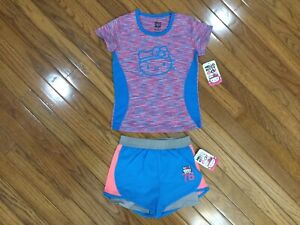 NWT Hello Kitty 2 Pc Outfit Top Blouse Teal Shorts Sz 5 / 6   (HK-4)