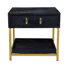 Vintage Plain Leather Wood Iron Modern Bed Side Table Office Room Bedroom