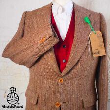 38R HARRIS TWEED Blazer Jacket Suit Pink Brown Herringbone Hacking Wedding #368