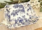 Vintage French Country Toile de Jouy Blue White Cotton Bread Basket Tie Corners