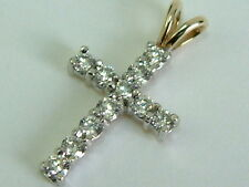 SMALL 9CT YELLOW GOLD CROSS PENDANT WITH CUBIC ZIRCONIA GEMS