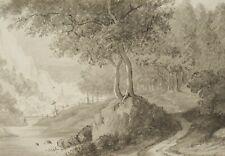 Flusslandschaft mit Pfad am Waldrand, um 1800, Federzeichnung und Aquarell