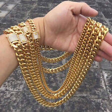 Miami Cuban Link Chain Rhinestone Clasp 14K Gold Plated Stainless Steel 8mm-18mm