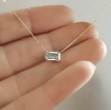 Daily Wear Jewelry Gift Emerald Pendant 925 Sterling Silver Solid Chain Necklace