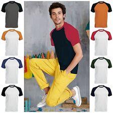 Mens Short Sleeve Contrast Raglan Baseball Casual T Shirt Tee Jersey Top Cotton