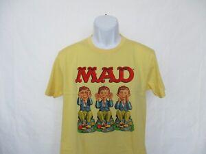 Mad Magazine See No Evil, Hear No Evil, Speak Yellow T-Shirt - Men's L - 2XL NEW