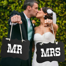 Wedding Shoot Photography Booth Props Black MR MRS Paper Board+Ribbon Wedding