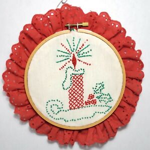 Vintage Christmas Redwork Candle Hand Embroidery Hoop frame lace holiday decor