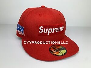 Supreme RED World Famous Box Logo New ERA Fitted Cap Size: 7 3/8