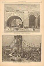 Brooklyn Bridge, Archway Under Approach, New York Side, 1883 Antique Art Print