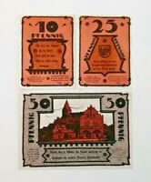 GADEBUSCH REUTERGELD NOTGELD 10, 25, 50 PFENNIG 1921 NOTGELDSCHEINE (11976)