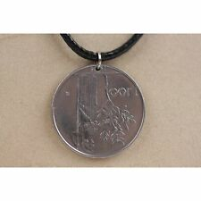 Pendant Numismatic Black Cord Necklace 1974 Handmade in Italy 100 Lire Coin