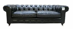 Chesterfield Real Distressed Vintage Sofa 3 Seater Black Couch Halo