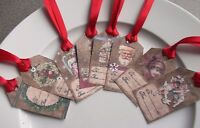 Set of 8 Handmade Christmas Gift Tags Labels Party Favour Antique Vintage Style