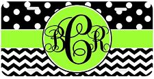 Personalized Monogrammed License Plate Auto Car Tag Polka Dot Chevron Lime Black