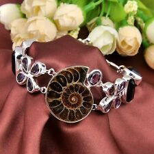 Huge Natrual AMMONITE FOSSIL Gemstone Silver Mystical Amethyst Bracelet
